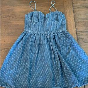 Free People dainty polka-dotted denim mini dress